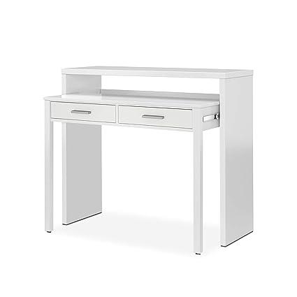 Habitdesign 004582BO - Mesa de Escritorio Extensible, Mesa Estudio Consola, Medidas: 98,5 x 87,5 x 36-70 cm de Fondo (Blanco Brillo)