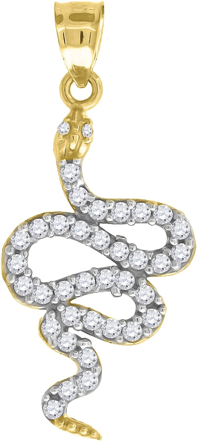 Animal Charm Pendant Ht:32mm x W:14mm FB Jewels 10k Gold Yellow and White Two tone CZ Cubic Zirconia Unisex Snake