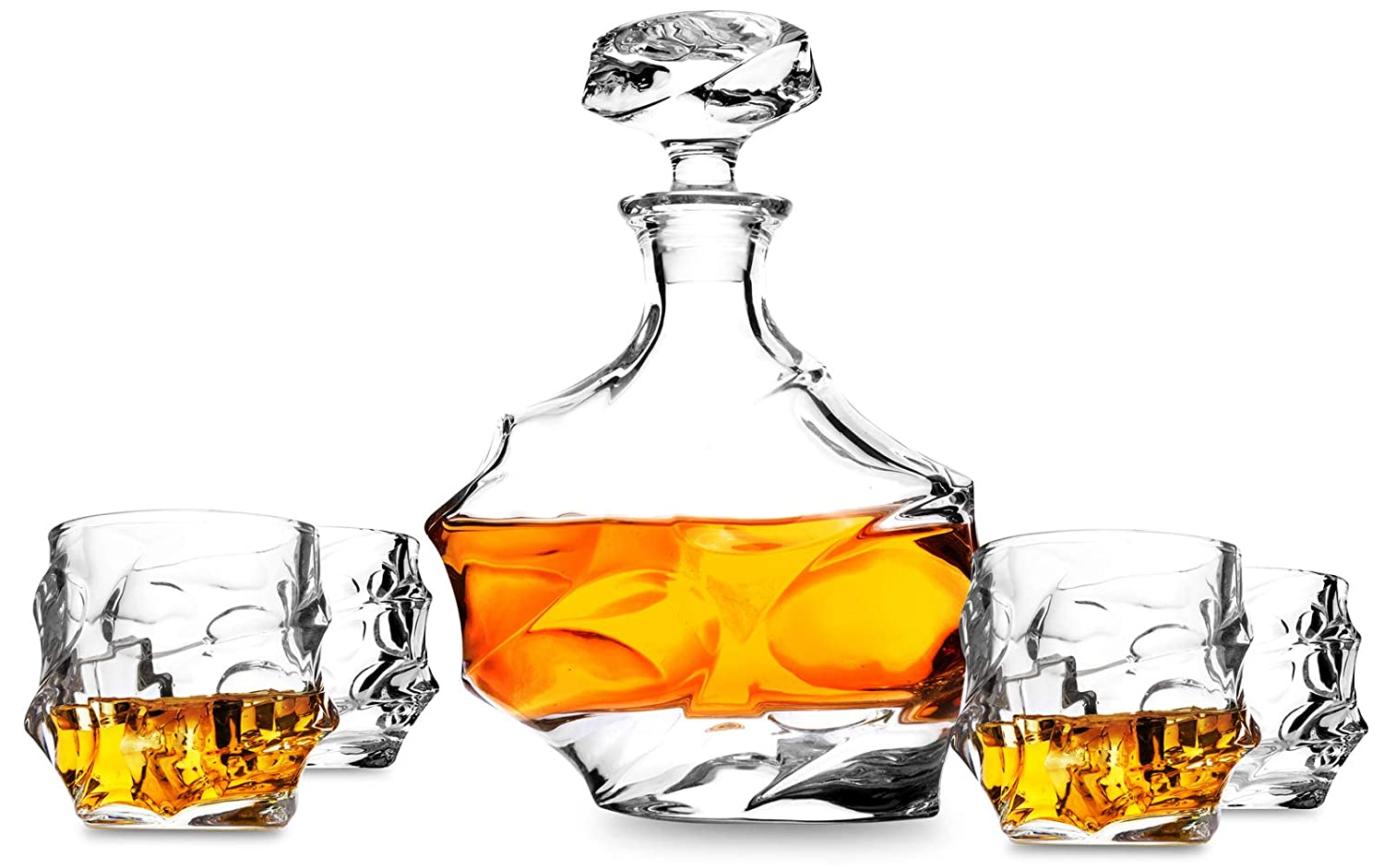 5-Piece Emperor Lead Free Crystal Whiskey Decanter Set. KANARS Scotch Carafe with 4 Unique Old Fashioned Cocktail Glasses for Bourbon Tasting or Drinking