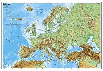 Europa Karte Physisch.Europakarte Europa Physisch 95 X 66 Cm Als Poster Amazon De Küche