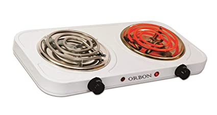ORBON Ivory Double 1000 W + 1000 W with Thermostat G Coil Stove Hot Plate Induction Cooktop/Cookers