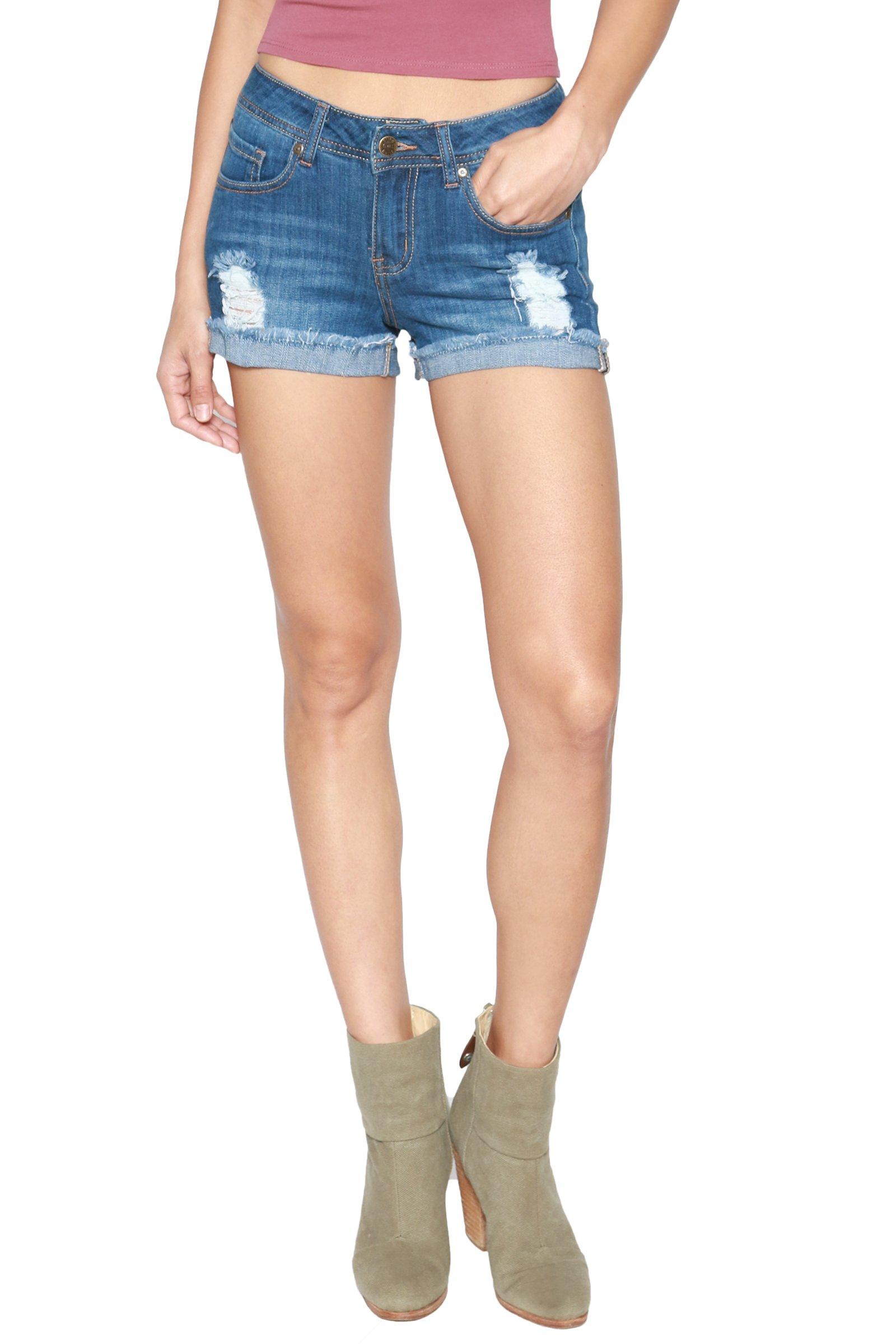 TheMogan Women's Vintage Destroyed Jean Cuffed Cutoff Denim Shorts Medium 2XL by TheMogan