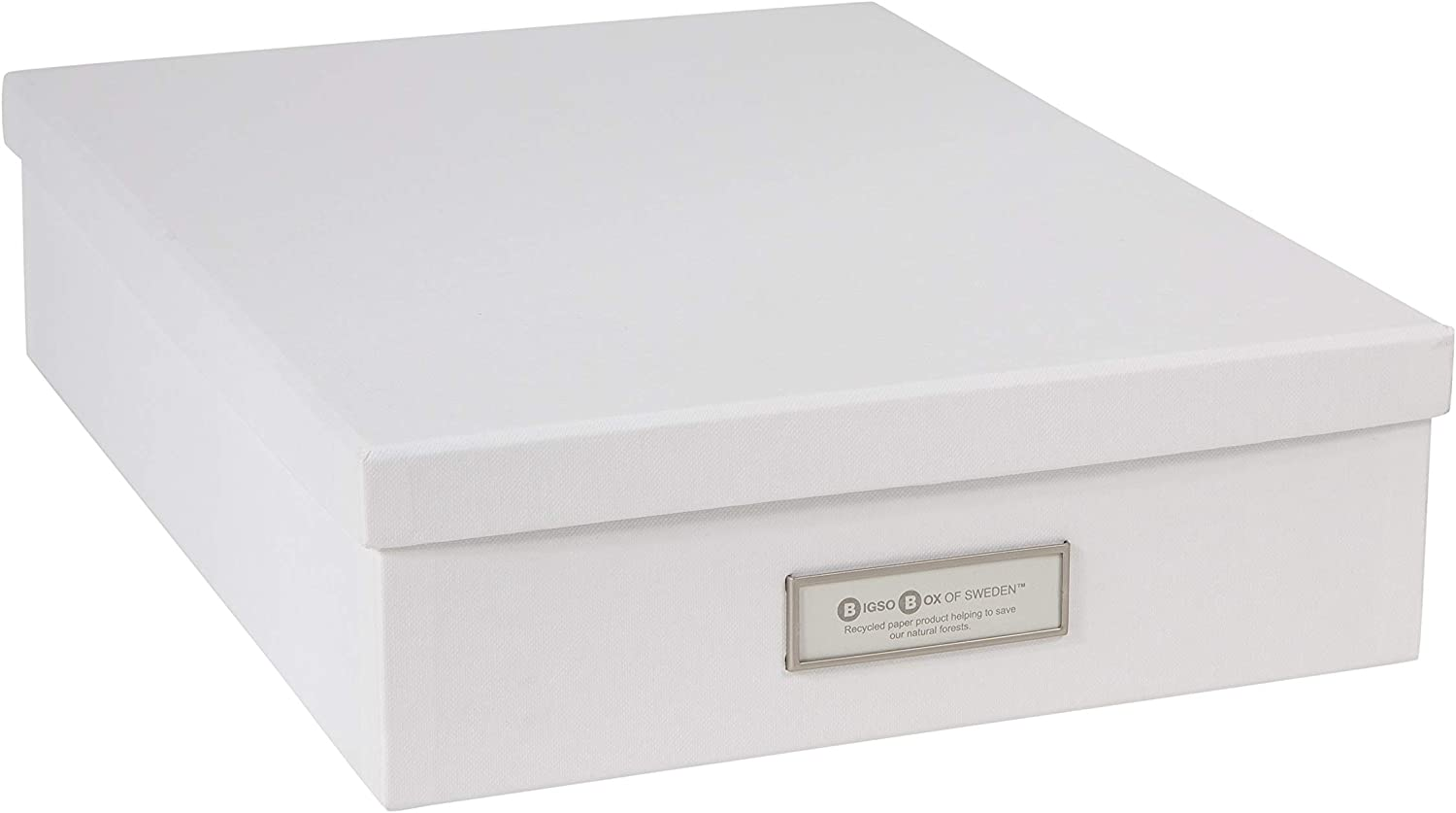 Bigso Oskar Fiberboard Label Frame Document Letter Box, 3.3 x 10.2 x 13.8 in, White
