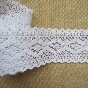 Qiuda 2 Meters Cotton Crochet Cluny Lace Edging Trim Ribbon 7 cm Width Vintage White Trimmings Edge Fabric Embroidered Applique DIY Sewing Craft Wedding Bridal Dress Embellishment Party Clothes Decor