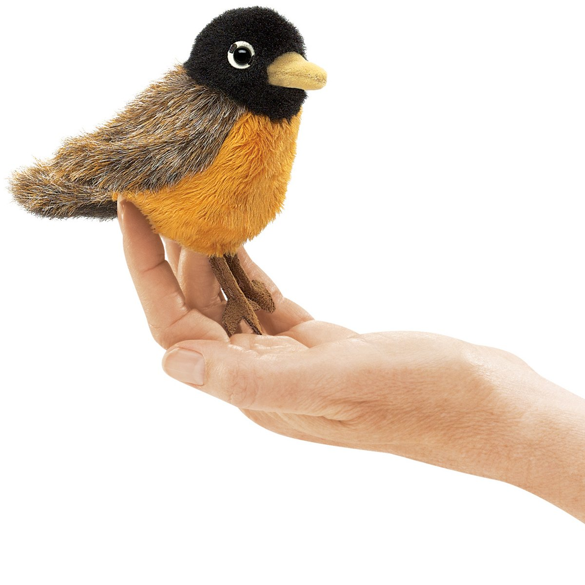 Folkmanis Mini Robin Finger Puppet Easily animate this engaging Robin bird plush puppet on your finger, or snuggle in the palm of your hand Ideal for stage and puppet theater, storytelling, teaching, daycare, pre-school, pretend play, role-playing, presentations, games, parties and gifts