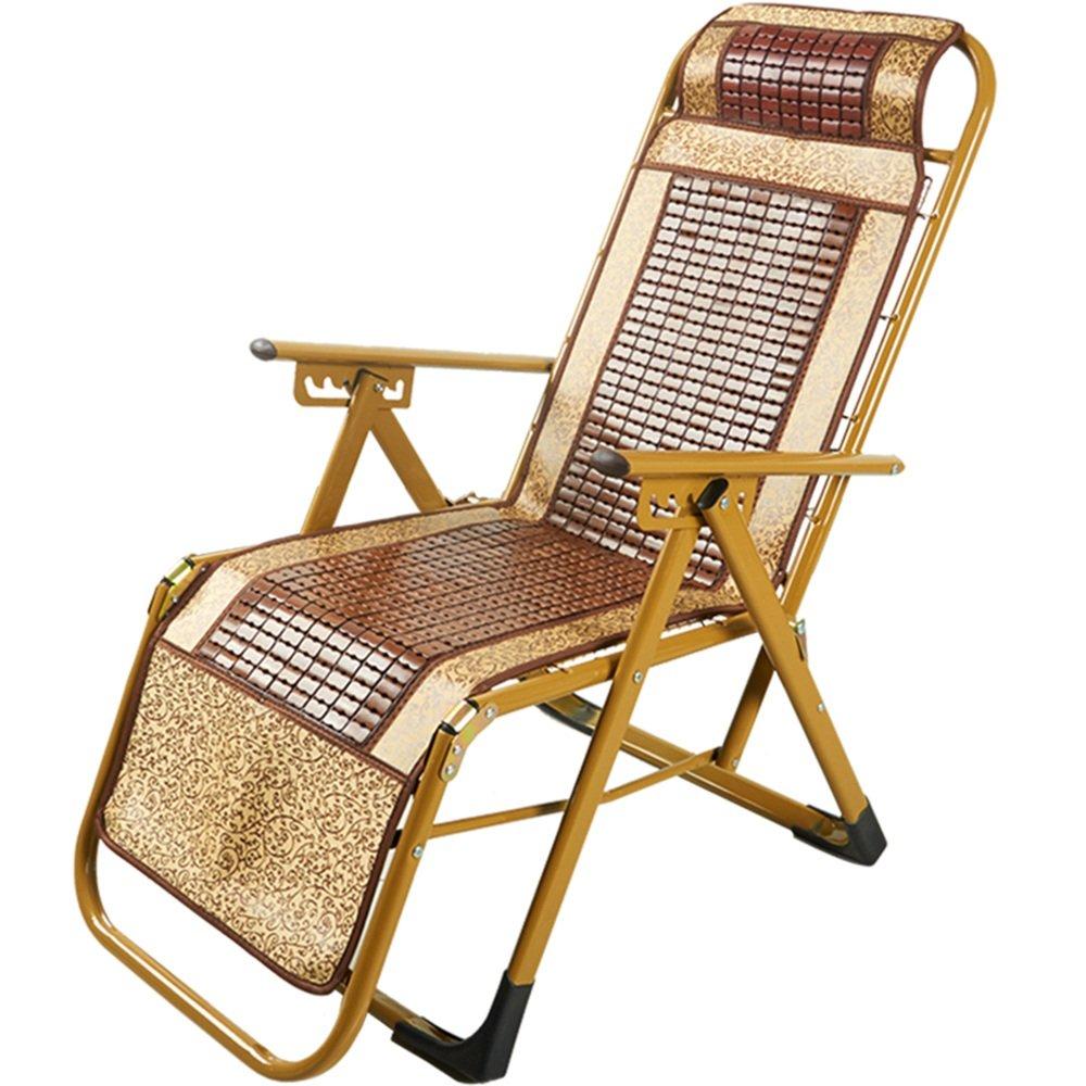 XXHDYR Bambussitz Liegesessel Klappstuhl Mittagspause Liege Mobiler Stuhl Bambus Lounge Stuhl Klappstuhl (Farbe : A 3 Levels Adjustable)