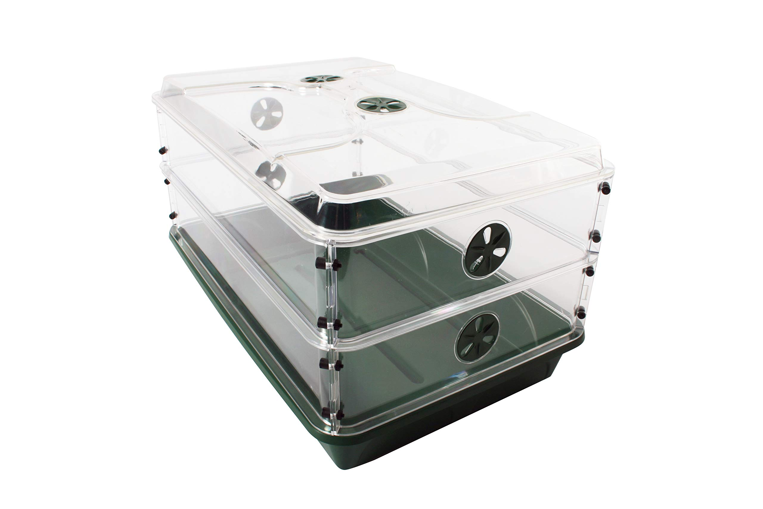 EarlyGrow 93807 24'' x 15'' x 12.75'' Domed Propagator with 2 Height Extenders, Green
