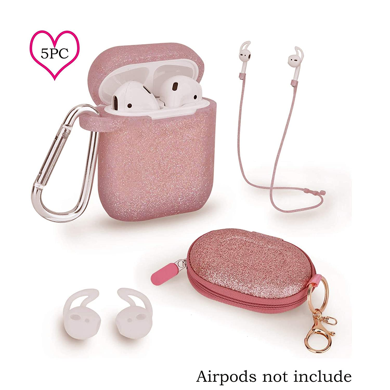 Amazon Com Pink Rose Gold Silicon Airpods Case 5pc In 1