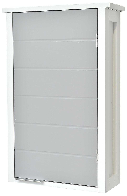 TENDANCE Meuble Haut de Salle de Bain à Fixer au Mur - 1 Rangement 1 Porte - Coloris Blanc et Gris 9903208