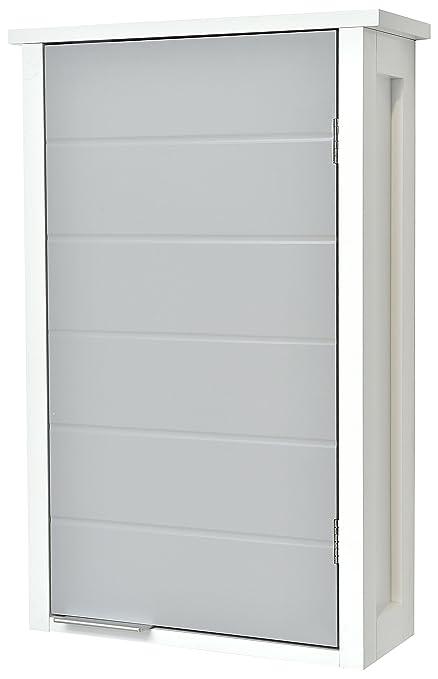 Tendance Meuble Haut De Salle De Bain A Fixer Au Mur 1 Rangement 1 Porte Coloris Blanc Et Gris