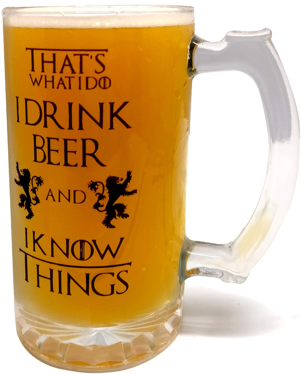 That's What I Do I Drink Beer & I Know Things – Large 16oz Beer Mug – Game of Thrones Inspired – Thick Clear Glass…