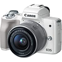 Canon EOS M50 EF-M 15-45mm F3.5-6.3 IS STM lens, 24.1 MP, 4K, Mirrorless Digital Camera, White