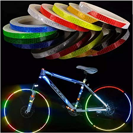 Adhesivos Reflectantes para Bicicleta de montaña, Bicicleta o Motocicleta, 8 CC, Cinta Adhesiva Fluorescente de Seguridad para Montar en Bicicleta: Amazon.es: Hogar