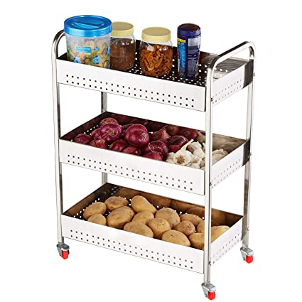 Swadhin 3 Layer Fruit And Vegetable Stand Basket Trolley Modern Kitchen Storage Rack 22 H X 16 L X 9 W Inch 3 Layer Trolley Amazon In Home Kitchen