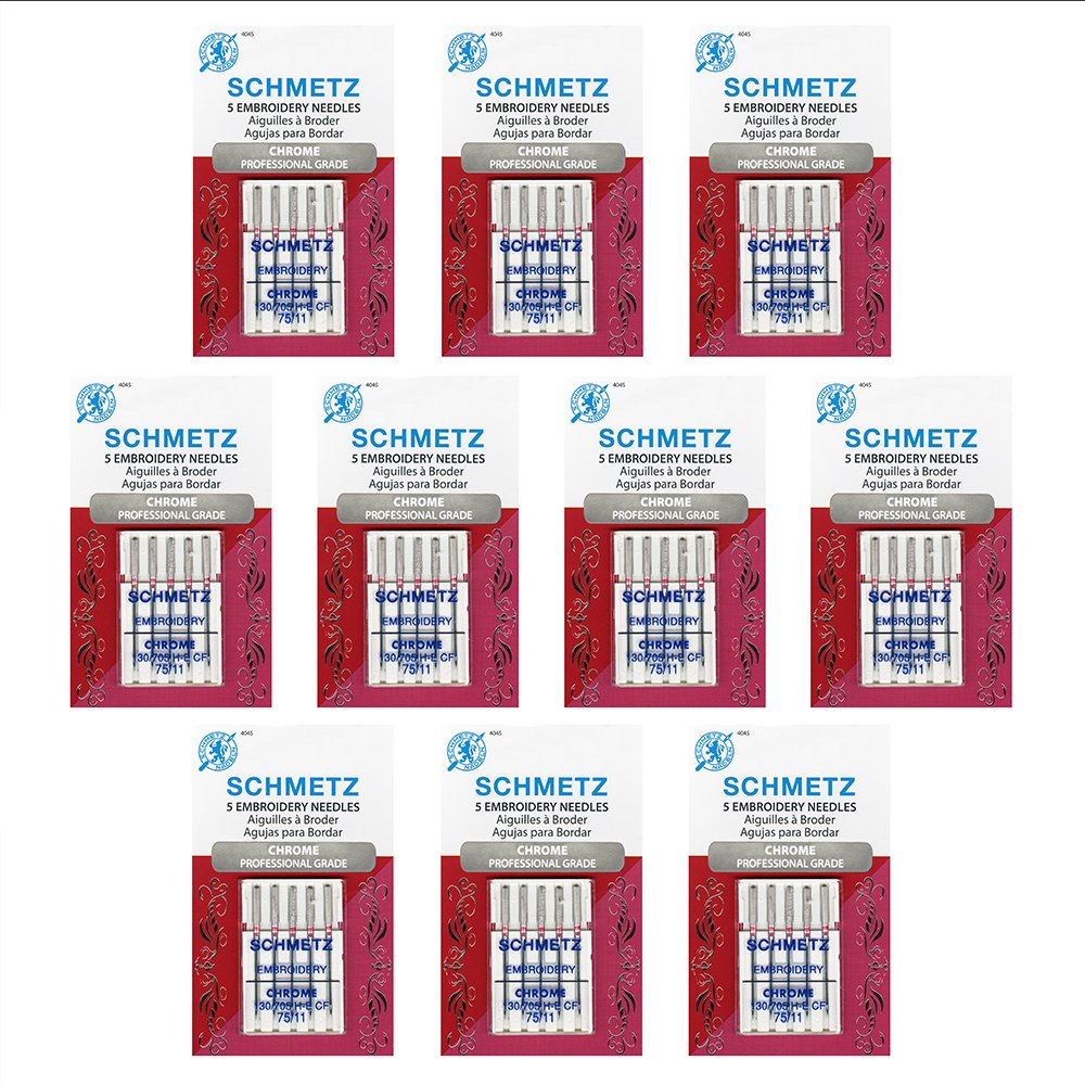 50 Schmetz Chrome Embroidery Sewing Machine Needles - size 75/11 - Box of 10 cards by Schmetz
