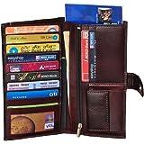 GLEAM Travel Passport Case / Debit & Credit Card Holder /Cheque Book Holder / /Money Wallet 100% Genuine Leather-DARK BROWN