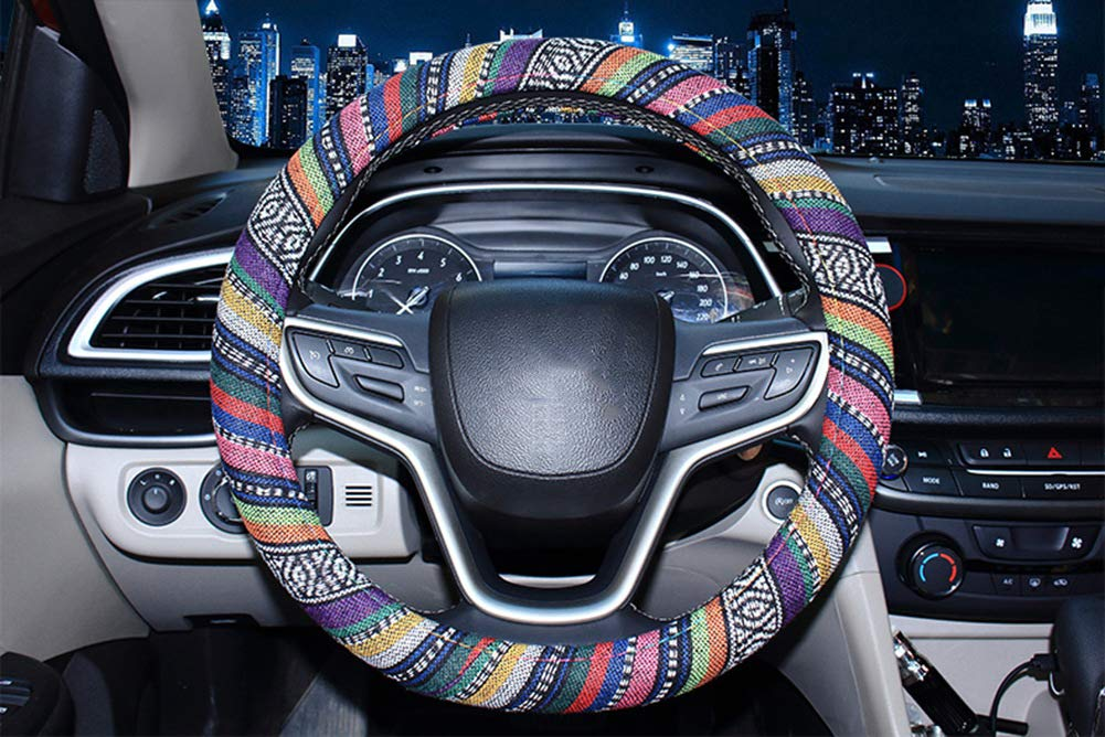 Ethnic Style Bamdream Technology Co.LTD Bamdream Coarse Flax Cloth Anti-Slip Sweat-absorbent Universal Car Steering Wheel Cover A Universal 15 Inch Fit