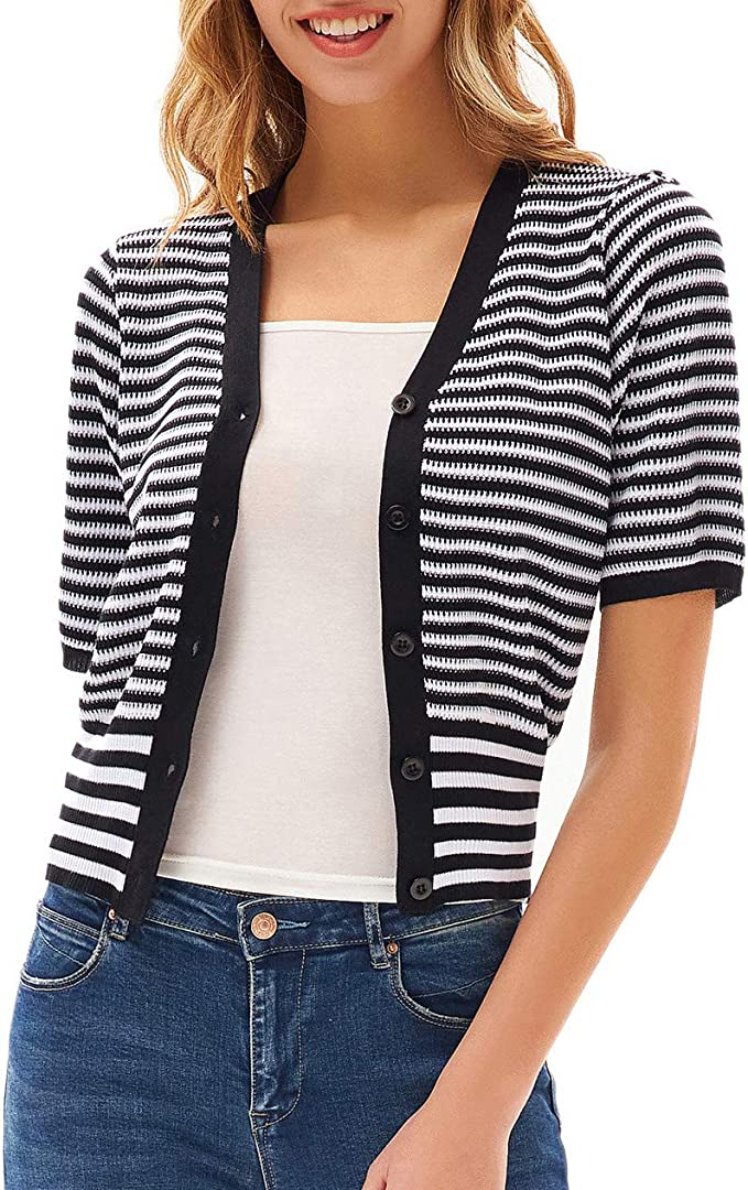 CURLBIUTY Women Vintage Short Sleeve Cropped Cardigan Square Neck Bolero Sweater