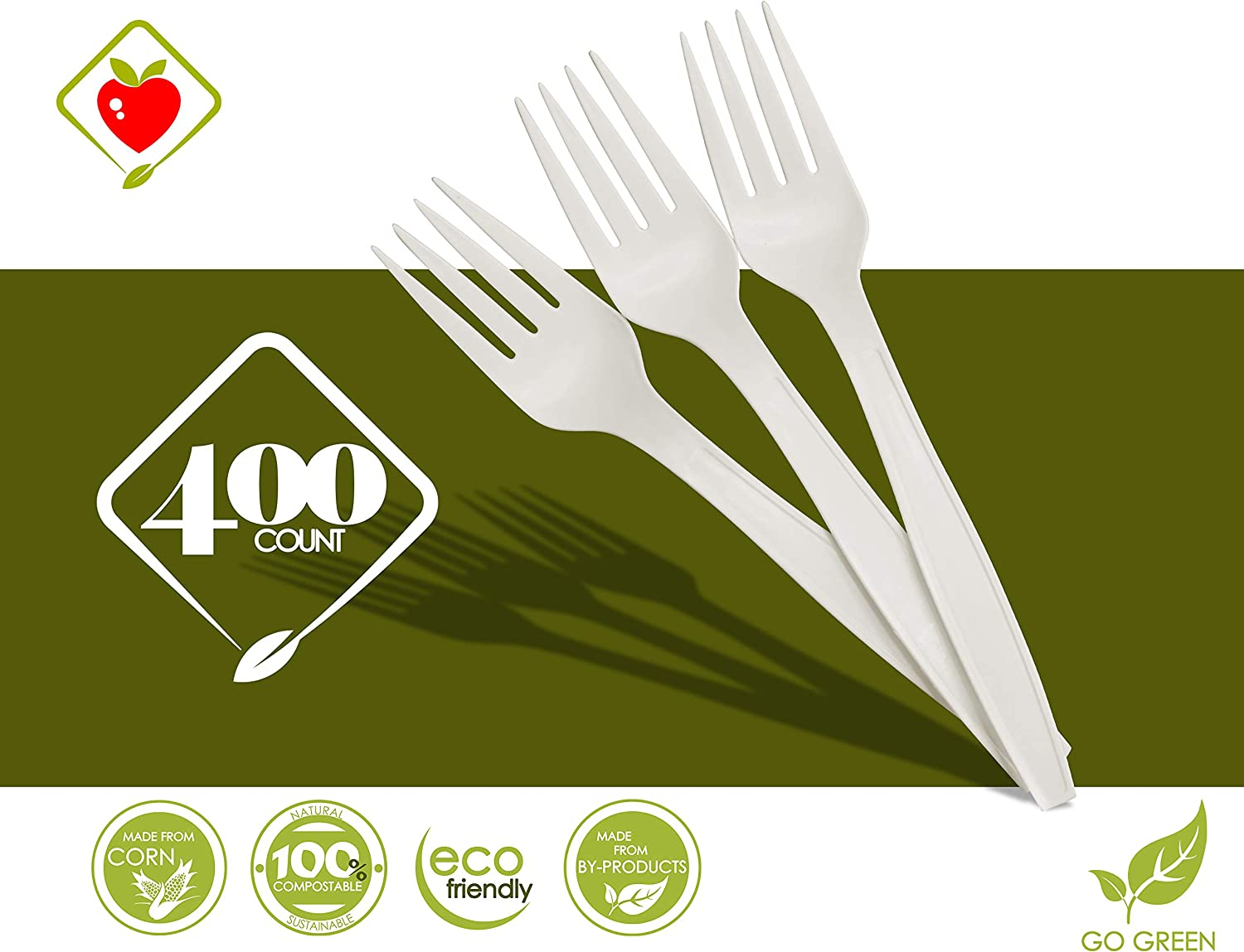 6.5 inch Long, Sustainable Cutlery Made of Corn, Dye Free, Heat Resistant 6.5 Forks Disposable Cornstarch Compostable Utensils for Soup Event Picnic Appetizer Party Tasting 800 COUNT