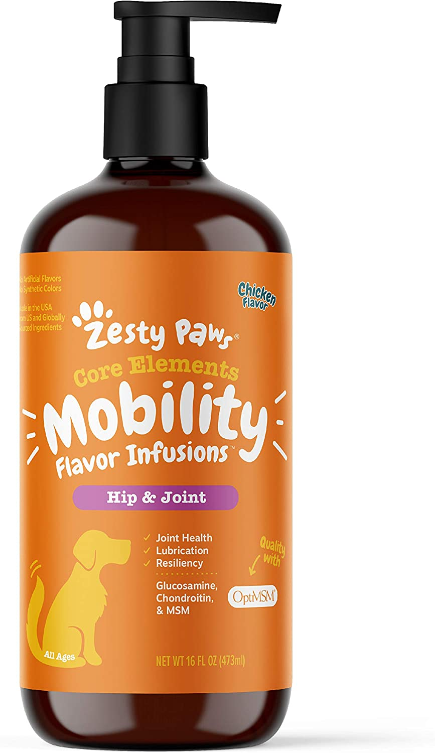 Zesty Paws Hip & Joint Mobility Bone Broth for Dogs - with Glucosamine HCl, Chondroitin Sulfate & Advanced MSM - for Healthy Hips & Joints + Collagen Support - Chicken Broth Booster