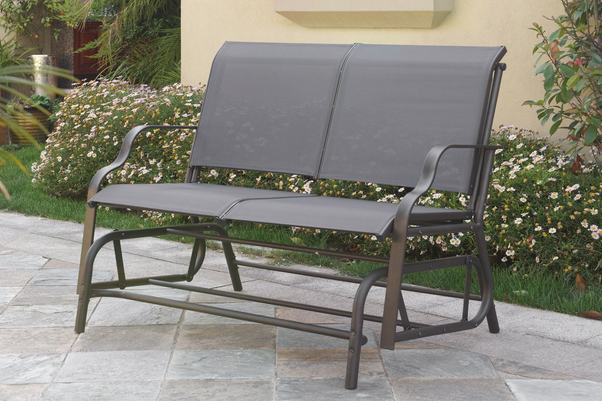 Amazon.com : Outdoor Patio Swing Glider Loveseat Bench Chair Steel Frame In  Dark Grey : Garden U0026 Outdoor