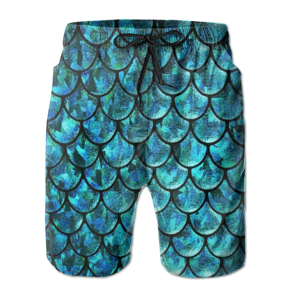 Mens Mermaid Tail Patterns1 Quick Dry Lightweight Fashion Board Shorts Swim Trunks L by COOA