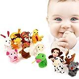 Finger Puppets,Pupow 12pcs Velvet Small Animal in Garden Baby Stories Helper Finger Toys Set ,Christmas Gift for Kids (Animal 12pcs)