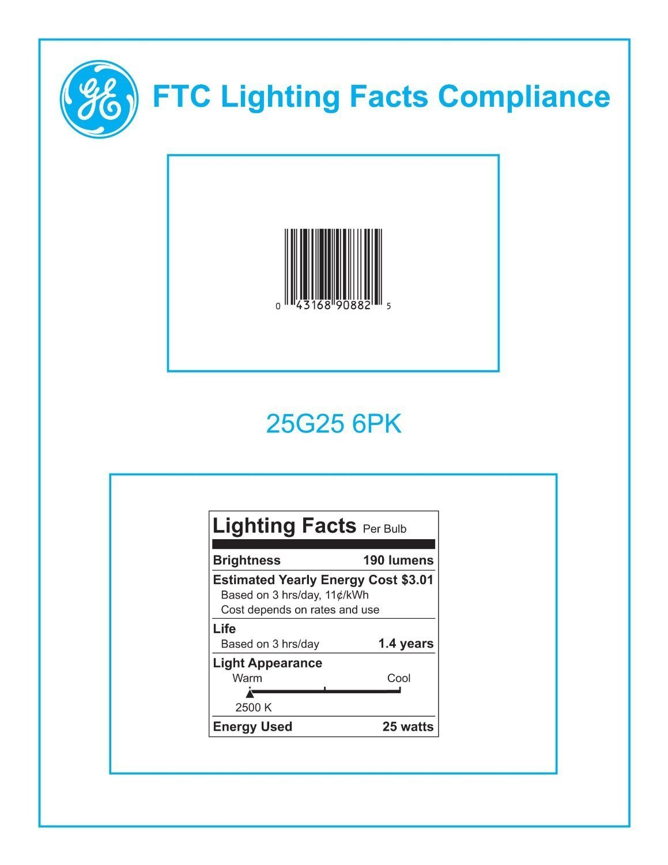Crystal Clear 12-Pack General Electric GE 12983-6 25 Watt Globe G25 Light Bulb