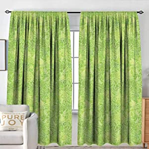 "NUOMANAN Decor Waterproof Curtains Green,Line Art Style Flourish Pattern on Green Tone Backdrop Ornate Victorian,Apple Green Light Yellow,Blackout Draperies for Bedroom Living Room 120""x96"""