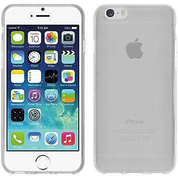 PhoneNatic Funda de Silicona Compatible con Apple iPhone 6s / 6 - Transparente Blanco - Cover Cubierta + Protector de Pantalla