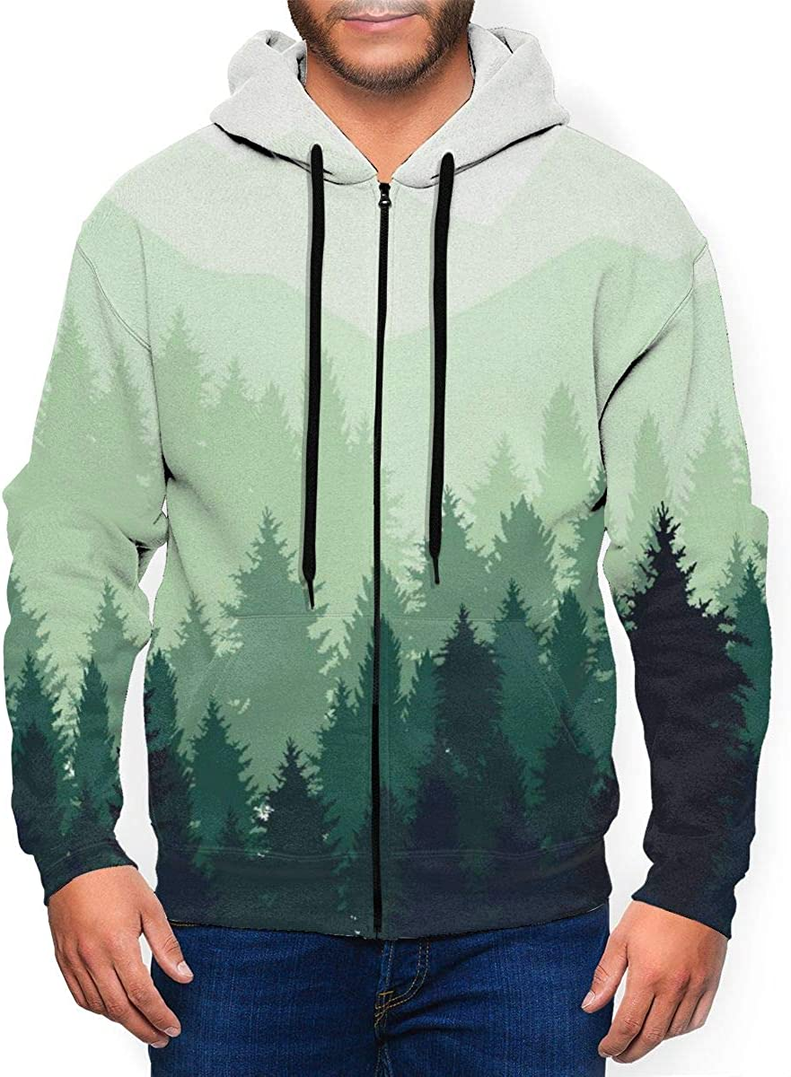 Kimisoy Abstract Forest Landscape Mens Hoodie Midweight Sweatshirt Warm Athletic Pullover Hoodie