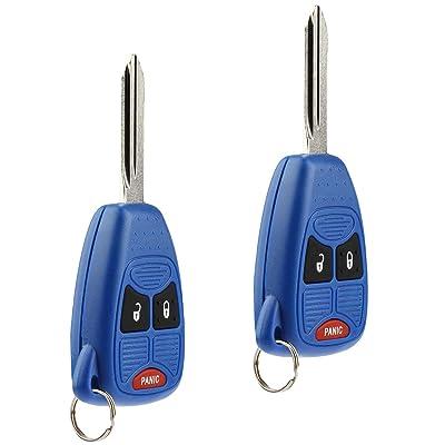 Key Fob Keyless Entry Remote fits Chrysler Aspen Pt Cruiser / Dodge Caliber Dakota Durango Magnum Nitro Ram / Jeep Compass Patriot Wrangler / Mitsubishi Raider (Blue), Set of 2: Automotive
