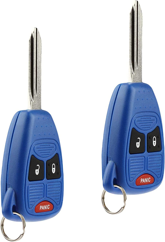 Key Fob Keyless Entry Remote fits Chrysler Aspen Pt Cruiser // Dodge Caliber Dakota Durango Magnum Nitro Ram // Jeep Compass Patriot Wrangler // Mitsubishi Raider Set of 2 Red