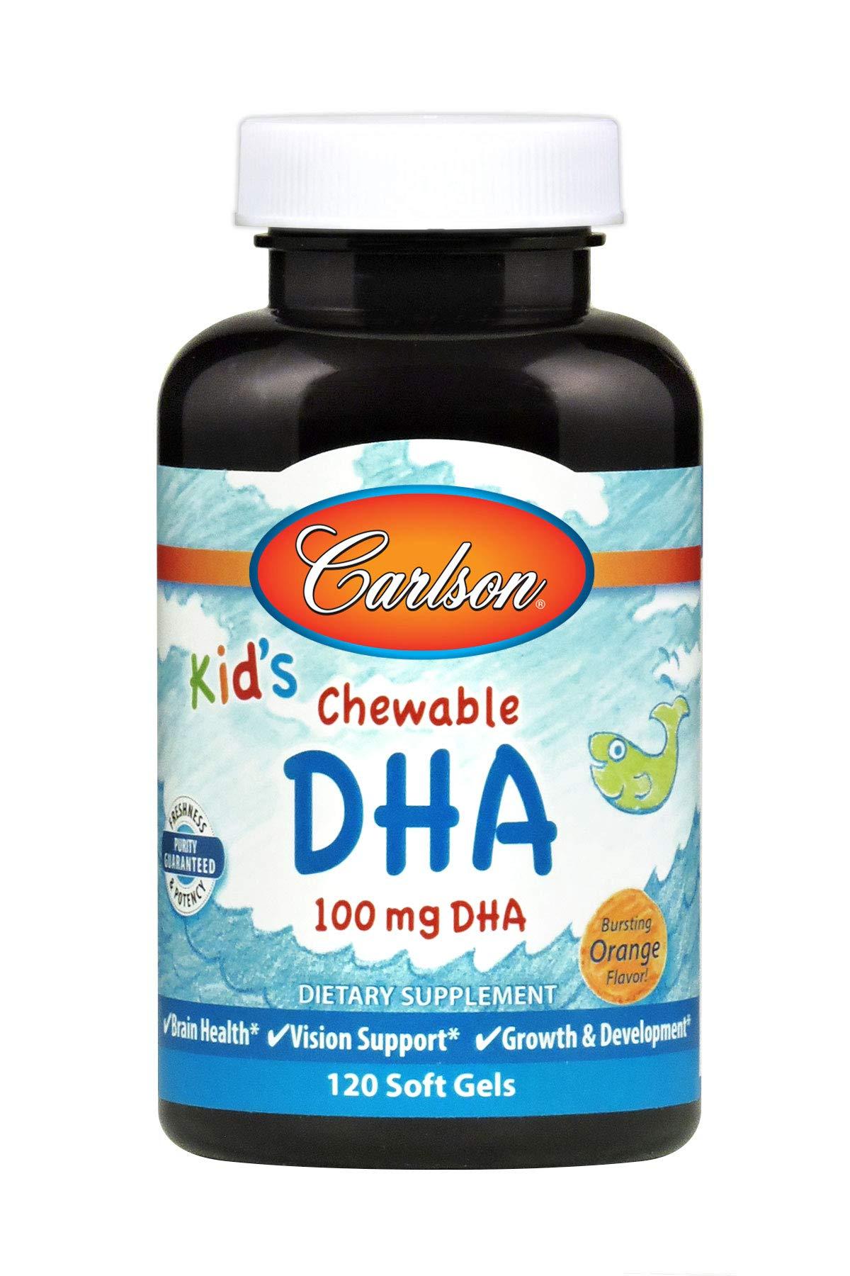 Carlson - Kid's Chewable DHA, 100 mg DHA, Brain & Vision Function, Growth & Development, Orange, 120 Soft gels by Carlson