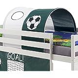 Tunnel MAX tente cabane pour lit surélevé coton motif foot vert blanc
