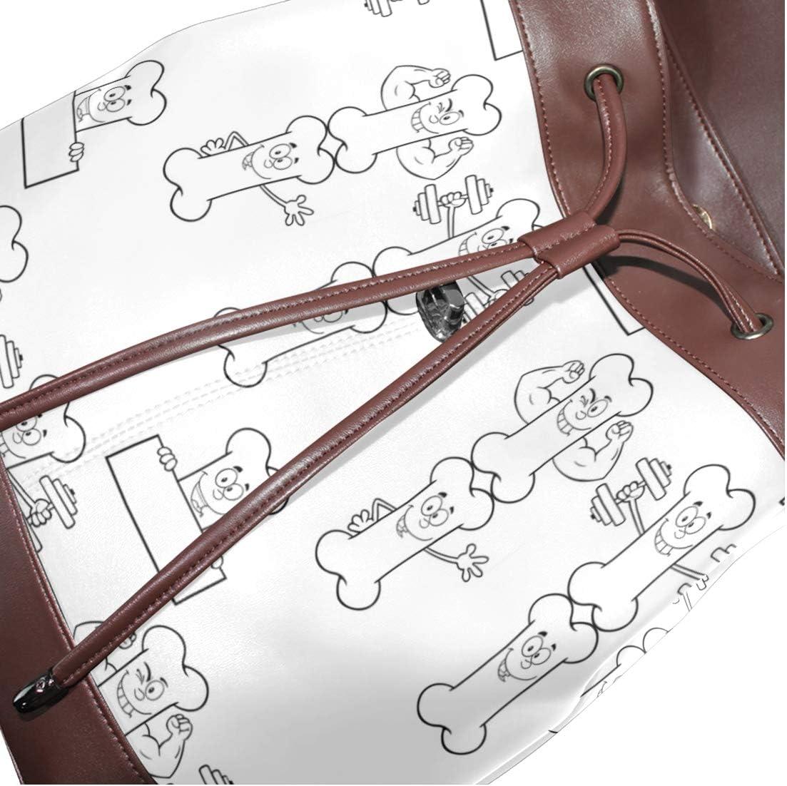 Leather Cartoon Bone Backpack Daypack Bag Women