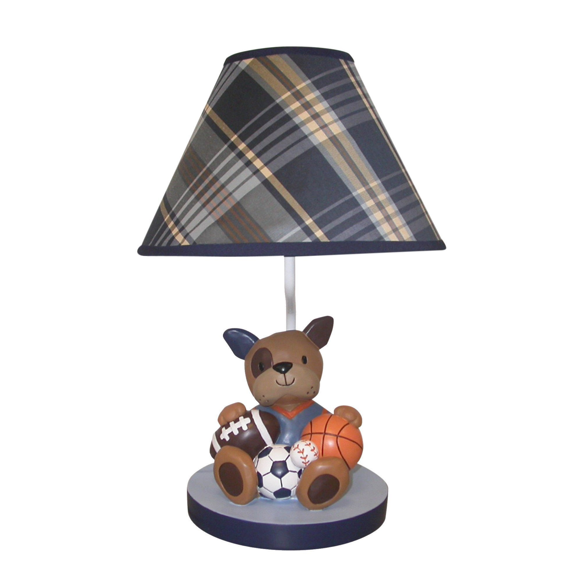Lambs & Ivy Bow Wow Buddies Lamp with Shade & Bulb - Puppy Dog Sports