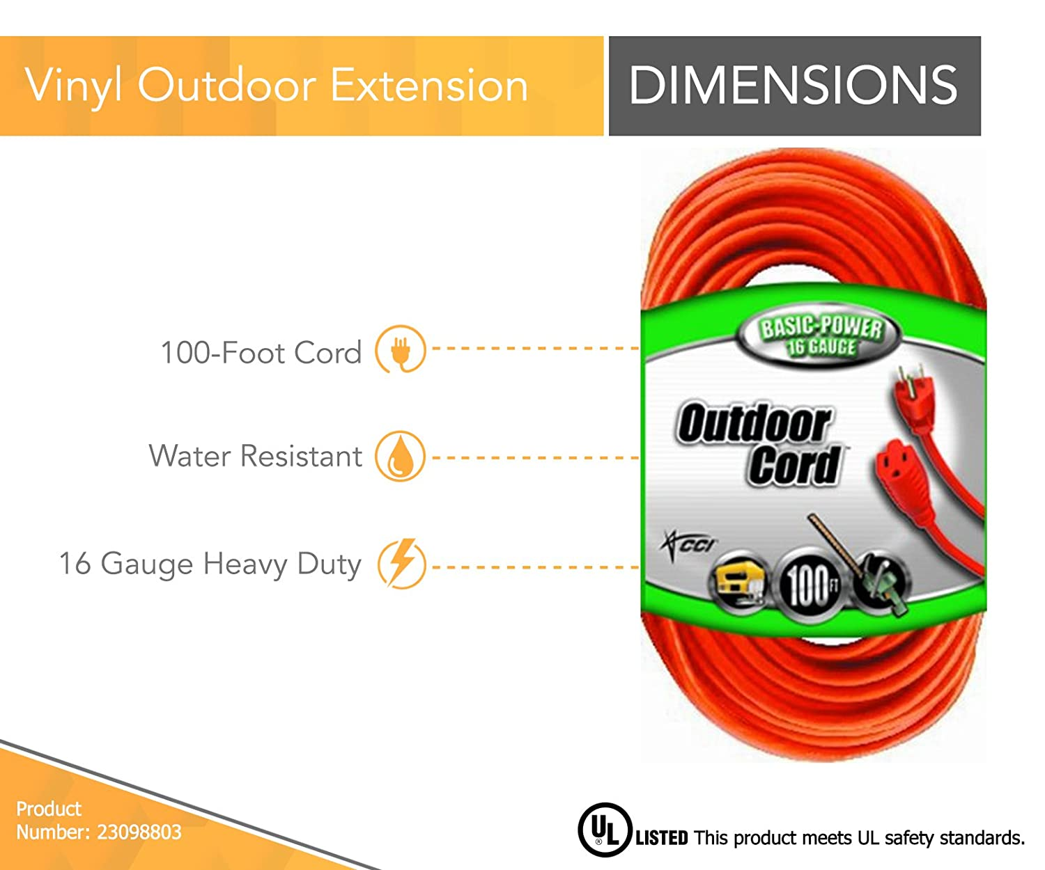 Coleman Cable 23098803 02309 16/3 Vinyl Outdoor Extension Cord ...