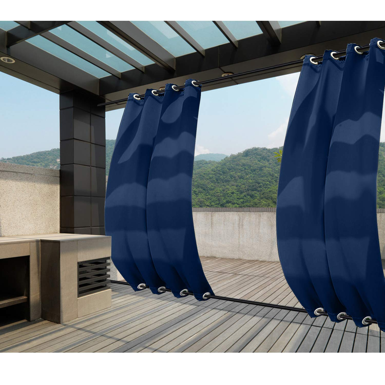 Macochico Extra Long Windproof Curtain Panels Outdoor Window Treatments Water Repellent Privacy Protection Heat Insulated for Patio Garden Gazebo Porch Cabana Navy 84W x 108L (1 Panel)