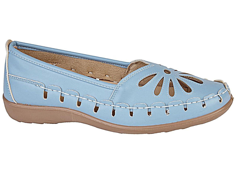Foster Footwear flache Mokassins für Damen, lasergeschnitten, 35,5 legerer Sommerschuh, Sandalen, Größe 35,5 lasergeschnitten, – 42  42 EU Hellblau e28a09