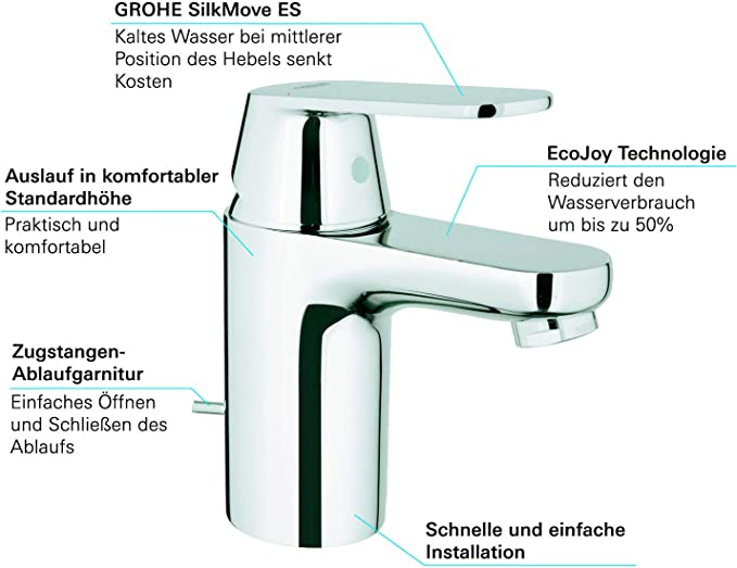 S Grohe Eurosmart 2337700E Grifo de lavabo con vaciador autom/ático