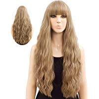 Qingjun Blonde Wavy wig with Air bangs for woman,Silky Full Heat Resistant Synthetic Wig natural long curly hair…