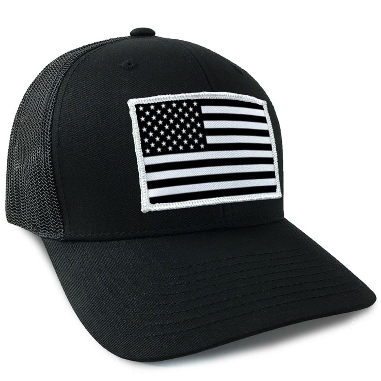 Amazon.com  American Flag USA Flexfit Mesh Tactical Trucker Snapback Hat  Black White  Clothing f4a66d9d66b