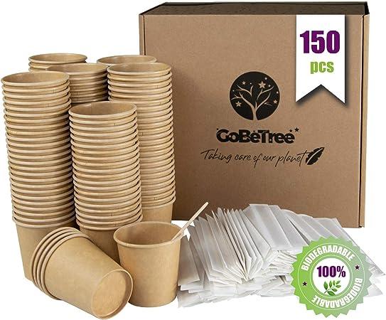 GoBeTree 150 Vasos de café Desechables Kraft con PLA para café expreso de 120 ml con agitadores de Madera en Funda de Papel para café de 11 cm: Amazon.es: Hogar