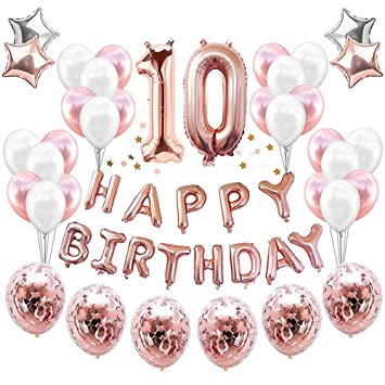 HankRobot 10th Birthday Decorations Party Suppies38packRose Golden Number 10 Balloons Happy