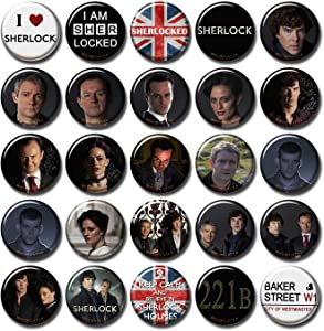 Sherlock BBC 25 pcs Button Fridge Magnets Set Pack TV Series 010-P002 Sherlock Holmes Benedict Cumberbatch Moriarty,Party Favors Supplies Gifts Home Decor (Round 1.5 inch 3.7cm)