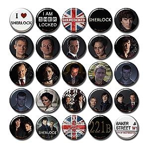 Pentagonwork Sherlock BBC 25 pcs Button Pins Set Pack TV Series 010-P002 Sherlock Holmes Benedict Cumberbatch Moriarty,Party Favors Supplies Gifts Home Decor (Round 1.5 inch 3.7cm)