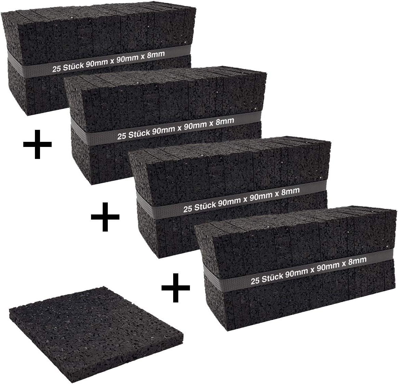 My Plast Lot de 25/20/mm terrasses Construction en granul/és de Caoutchouc terrassenpads Noir