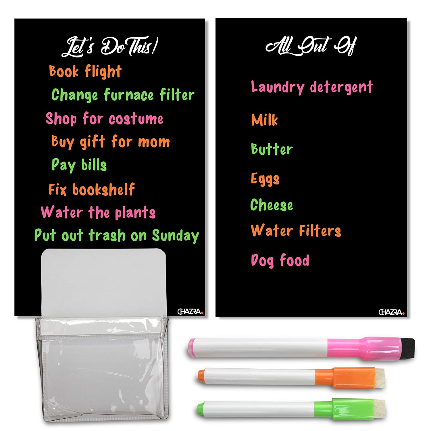 "Magnetic Dry Erase Boards for Refrigerator (2 Pieces, 6.25"" x 9.75""), Dry Erase Markers and Magnetic Pen Holder Set - Dry Erase Fridge to Do List and Grocery List Magnet with Fridge Pencil Cup Holder"