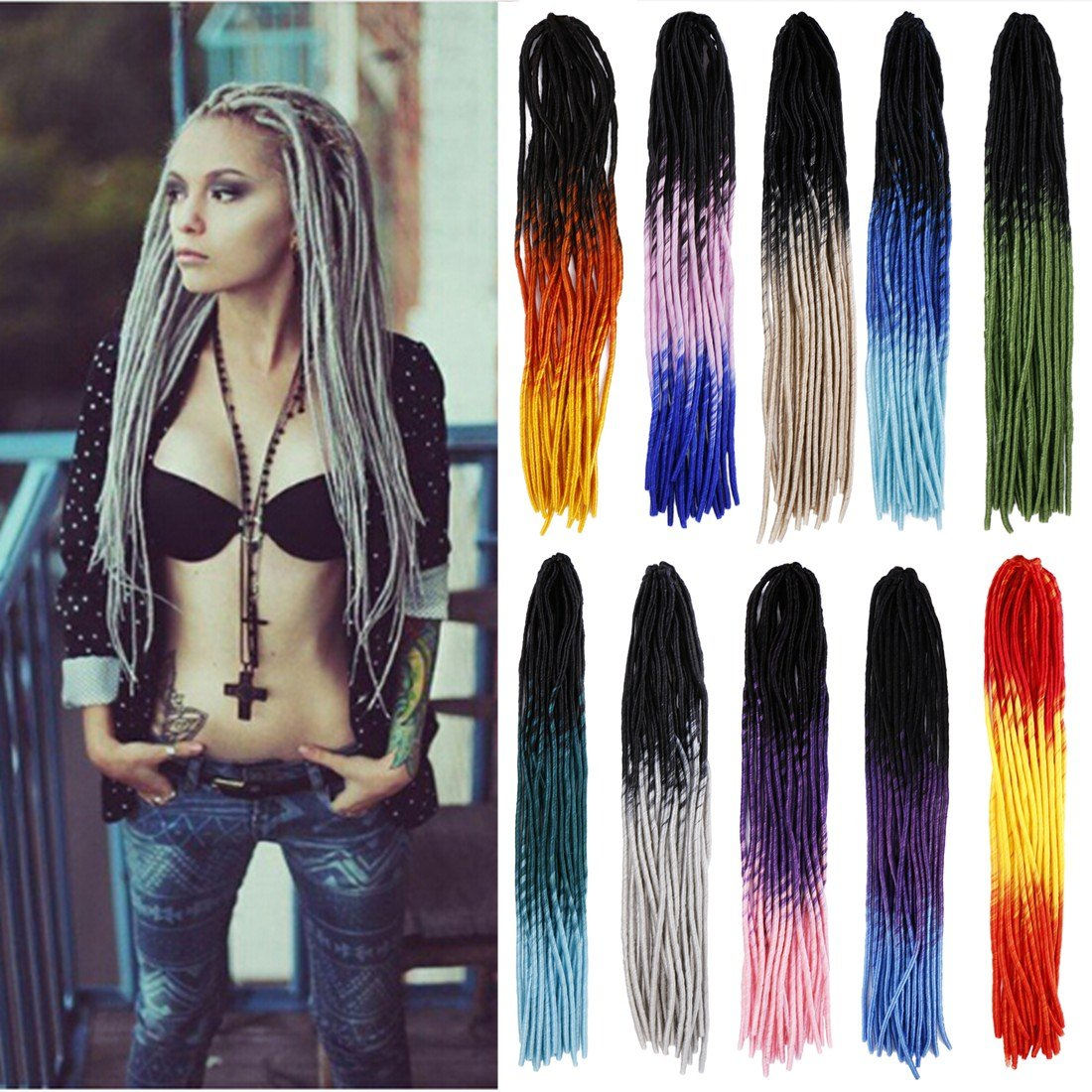 Amazon 24 Handmade Dreads Ombre Black To Grey Braiding